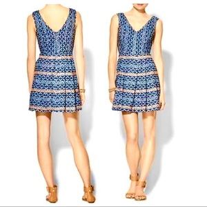 SKIES ARE BLUE | Aztec Chambray Peach/Blue Dress
